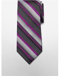 Calvin Klein | Purple White Label Steel Carbon Stripe Tie for Men | Lyst