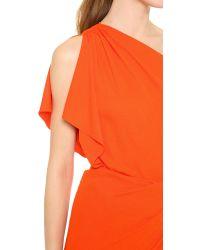 Vionnet - Orange One Shoulder Capelet Dress - Lyst