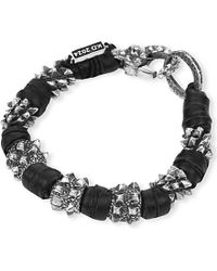 KD2024 | Black Spike Sterling Silver And Leather Bracelet | Lyst