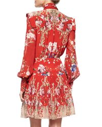 Roberto Cavalli - Red Floral-print Tie-neck Dress - Lyst