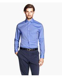 H&M - Blue Shirt In Premium Cotton for Men - Lyst