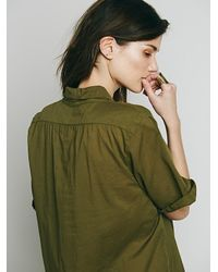Free People - Green X Cp Shades Womens Rolled Sleeve Henley - Lyst