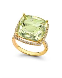 Kiki McDonough | Green Diamond Lemonquartz Gold Ring | Lyst