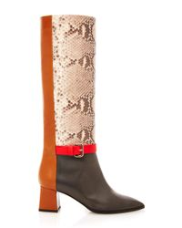 Pollini - Brown Color Block Boot - Lyst