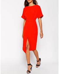 ASOS | Red Tall Wiggle Dress With Split Front | Lyst