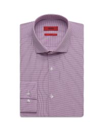 HUGO - Purple 'eastonx ' | Slim Fit, Microplaid Dress Shirt for Men - Lyst