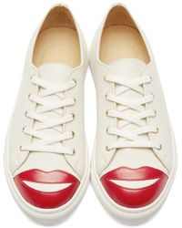 Charlotte Olympia - Natural Cream Low-top Kiss Me Sneakers - Lyst