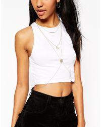 ASOS | Metallic Pretty Faux Pearl Filigree Body Harness | Lyst