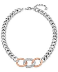 Swarovski - Pink Two-tone Pave Crystal Link Necklace - Lyst