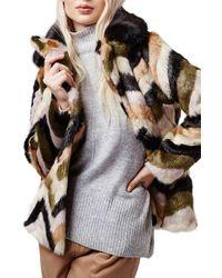 TOPSHOP Brown Chevron Faux Fur Coat