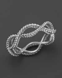 Roberto Coin | Metallic 18k White Gold Single Row Twisted Ring | Lyst