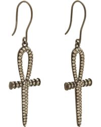 Lynn Ban - Gray Grey Diamond Black Rhodium Silver Ankh Drop Earrings - Lyst