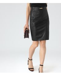 Reiss - Black Cleo Leather-panel Pencil Skirt - Lyst