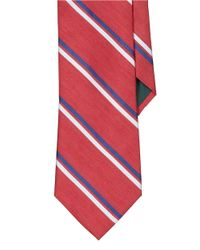 Lauren by Ralph Lauren | Red Striped Silk-Cotton Tie for Men | Lyst