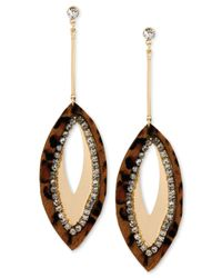 Steve Madden - Metallic Gold-Tone Leopard Oval Drop Earrings - Lyst