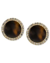 Michael Kors | Metallic Gold-Tone Tortoise Slice Crystal Pave Stud Earrings | Lyst