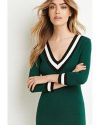 Forever 21 - Green Varsity-striped Sweater Dress - Lyst