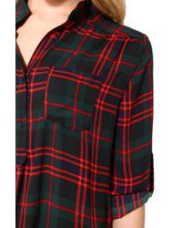 AKIRA - Red Sheer Plaid Tunic Top - Lyst