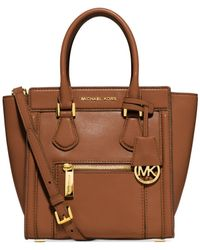 Michael Kors - Brown Michael Colette Zip Medium Messenger - Lyst