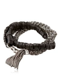 Emanuele Bicocchi | Metallic Woven Leather Sterling Silver Bracelet for Men | Lyst