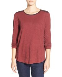 Madewell | Red Colorblock Long Sleeve Slub Crewneck Tee | Lyst