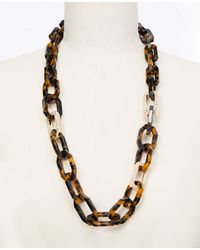 Ann Taylor | Natural Estate Leather Wrapped Long Necklace | Lyst