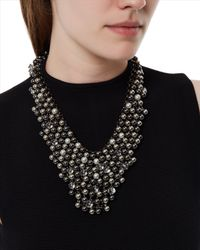 Jaeger - Metallic Metal Mesh Bib Necklace - Lyst