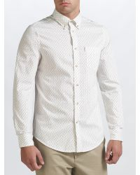 Ben Sherman | White Scattered Print Long Sleeve Shirt for Men | Lyst