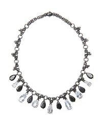 Bottega Veneta | Metallic Oxidised-Silver Crystal Necklace | Lyst