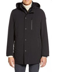 Tumi - Black 'tech-stretch' 3-in-1 Hooded Jacket With Removable Liner for Men - Lyst