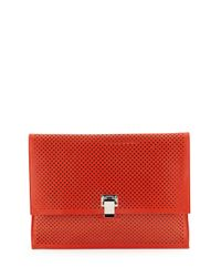 Proenza Schouler - Red Large Perforated Leather Lunch Clutch Bag - Lyst