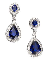 Effy | Blue Velvet Bleu 14 Kt. White Gold Ceylon Sapphire And Diamond Earrings .31 Ctw | Lyst