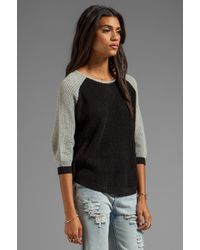 Shae - 34 Sleeve Baseball Dolman Pullover in Black - Lyst