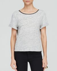 Alice + Olivia - Gray Tee - Cross Back Leather Trim - Lyst