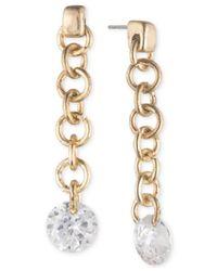 Lonna & Lilly - Metallic Gold-tone Cubic Zirconia Linear Drop Earrings - Lyst