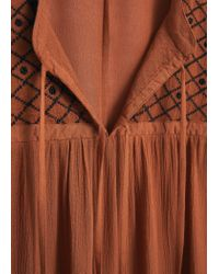 Mango - Orange Embroidered Cord Blouse - Lyst