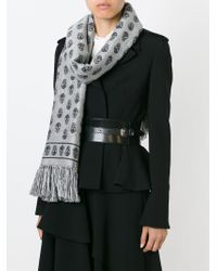 Alexander McQueen - Gray Skull-print Cold Weather Scarf - Lyst