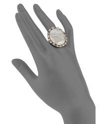 Bavna - Gray Moonstone Pavé Champagne Diamond  Blackened Sterling Silver Ring - Lyst