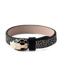 BVLGARI | Black Leather Snake Bracelet | Lyst