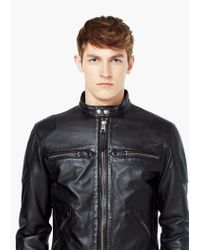 Mango | Black Leather Biker Jacket for Men | Lyst