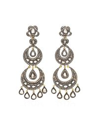 Kirat Young | Metallic Diamond Chandelier Earrings | Lyst