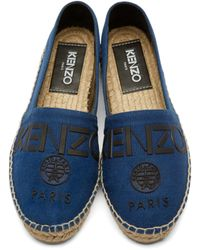 KENZO - Blue Canvas Logo Espadrilles for Men - Lyst