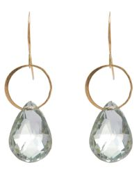 Melissa Joy Manning | Metallic Large Gold And Green Amethyst Single Drop Earrings | Lyst