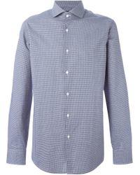 BOSS - Blue Fine Check Shirt for Men - Lyst
