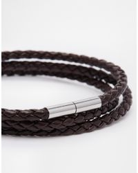 Seven London - Brown Leather Woven Wrap Bracelet for Men - Lyst