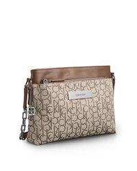 Calvin Klein - Natural White Label Logo Jacquard Zip Date Bag - Lyst