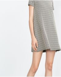 Zara | Natural Jacquard Dress | Lyst