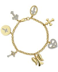 Macy's - Metallic Diamond Accent Inspirational Charm Bracelet In 18k Gold Over Silver-plated Bronze - Lyst