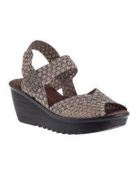 Bernie Mev - Metallic Fame Wedge Sandal Bronze Fabric - Lyst
