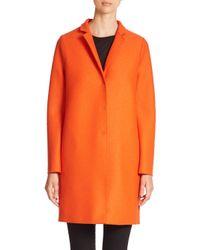Harris Wharf London - Orange Wool Cocoon Coat - Lyst